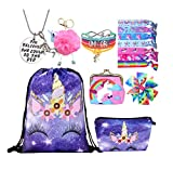Unicorn Gifts for Girls - Unicorn Drawstring Backpack/Makeup Bag/Bracelet/Necklace/Hair Ties/Keychain/Sticker (Purple Rainbow 3)