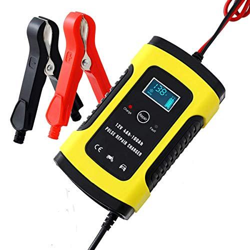 Autobatterie Ladegeräte 6A 12V Batterie Ladegerät Auto Vollautomatisches Batterieladegerät KFZ mit LCD-Bildschirm Erhaltungsladegerät für Autobatterie, Motorrad, Rasenmäher oder Boot