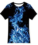 Teens Boys Blue Smoking Tshirts Flame Black Graphic Tee Short Sleeve Gym Tops for Kids 13/14 Years