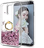 LeYi Compatible with Samsung Galaxy S5 Case with 2PCS Tempered Glass Screen Protector for Girls Women, Glitter Quicksand Clear Phone Case with Ring Kickstand for Samsung S5, Rose Gold