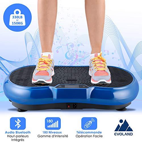 EVOLAND Plateforme Oscillante & Vibrante 3D, Fitness Machine Ultra Slim, 180 Niveaux, 5 Programmes, 3 Zones de Vibration, 1 Télécommande, 2 Bandes Elastiques, 150KG Capacité