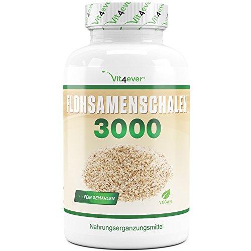 Flohsamenschalen - 360 Kapseln - 3000 mg pro Tagesportion - Premium: 99+% Reinheit & fein gemahlen - 100% Psyllium Husk aus Indien - Laborgeprüft - Vegan - Premium Qualität