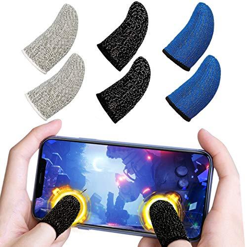 Yeelan 6pack Handy Gaming Fingersleeves,Mobile Game Finger Sleeve Handyspiel Fingerhülle Schweißfestigkeit Atmungsaktiv Geeignet für Touchscreen-Smartphone-Spiele(Schwarz + Blau + Weiß)