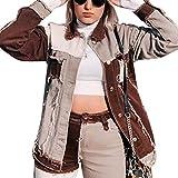 Timagebreze Patchwork Harajuku Jeans Chaquetas para Mujer Streetwear Vintage Aesthetic 90S Abrigos Casual Oto?O Chaqueta L MarróN
