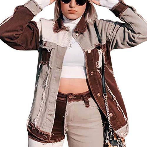 Timagebreze Patchwork Harajuku Jeans Chaquetas para Mujer Streetwear Vintage Aesthetic 90S Abrigos...