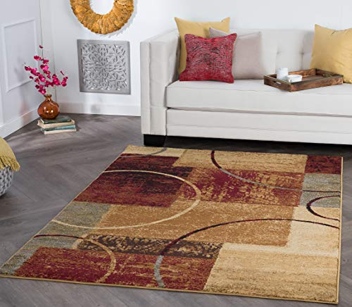 Tacoma Multi-Color 5x7 Rectangle Area Rug for Living, Bedroom, or Dining Room - Modern, Abstract