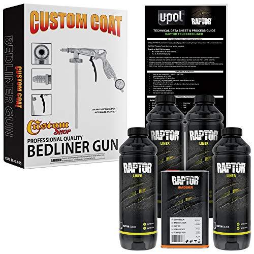 U-POL Raptor Black Urethane Spray-On Truck Bed Liner 4 Quart Kit w/Free Custom Coat Spray Gun with Regulator