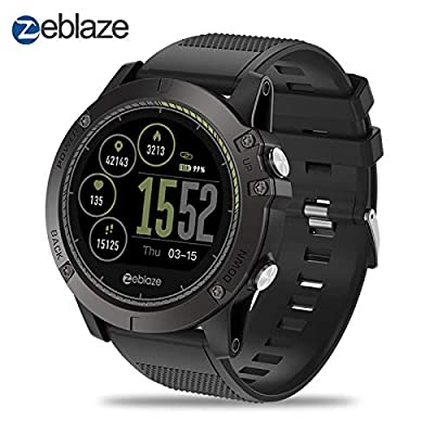 Zeblaze Super Lightweight Vibe 3 HR Smart Watch, Rugged Inside Out HR Monitor 3D UI All-Day Activity Record 1.22' IPS IP67 Waterproof Smart Watch for Activity Tracker