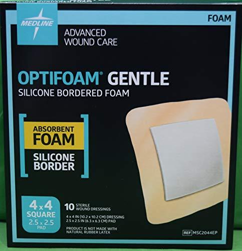 Medline MSC2044EPZ Optifoam Gentle Border Adhesive Dressings, 4' x 4' (Pack of 10) (Packaging may vary)