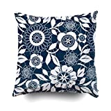 LarissaHi Home Throw Funda de Almohada para sofá Funda de cojín Blanco Encaje Crochet Flores patrón Decorativo Cuadrado de Doble Cara de impresión 18 x 18 Pulgadas