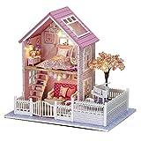 Diy Handgefertigtes Holz-Puppenhauszur Selbstmontage Modellhaus puppenhaus miniatur mit led-leuchten...
