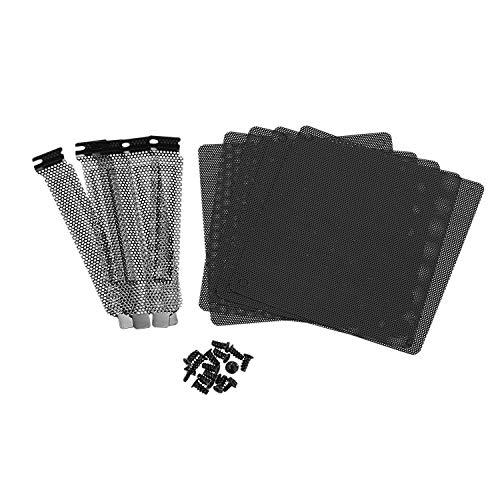 VORA 5Pc 12Mm PVC Computadora PC Enfriador Ventilador Filtro Negro Cubierta de Funda a Prueba de Polvo Paquete de Malla + 5 Piezas Filtro de Polvo Placa Ciega Cubierta de Ranura PCI