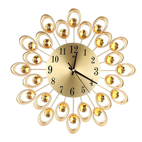 Generic 3D Diamant Wanduhr Home Dekorative Sunburst Starburst Zifferblatt Uhr Art Decor - Gold