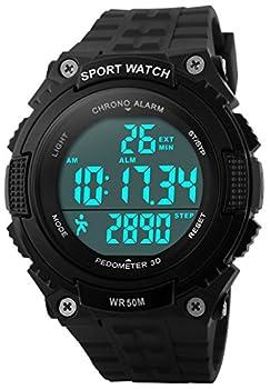 Fanmis Unisex Outdoor Sports Watches Military Multifunctional 50M Waterproof Pedometer Digital Watch  Black