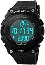 Fanmis Unisex Outdoor Sports Watches Military Multifunctional 50M Waterproof Pedometer Digital Watch (Black)