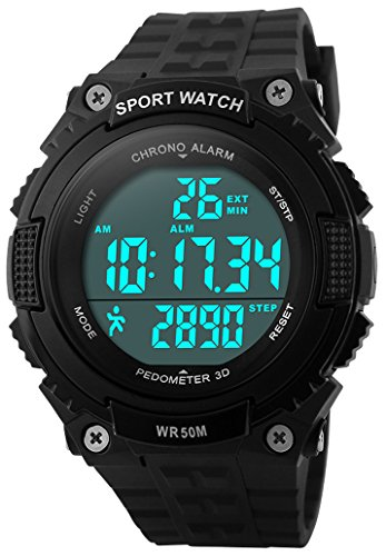 Fanmis Unisex Outdoor Sports Watches Military Multifunctional 50M Waterproof Pedometer Digital Watch (Black)