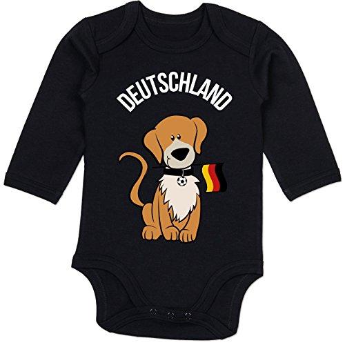 Shirtracer Fußball-Europameisterschaft 2020 - Baby - Fußball Deutschland Hund - 3/6 Monate - Schwarz - BZ30 - Baby Body Langarm