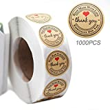 1000pcs Handmade with Love Sticker, YOGET 1'' Round Thank You Stickers Roll Kraft Paper Strong...