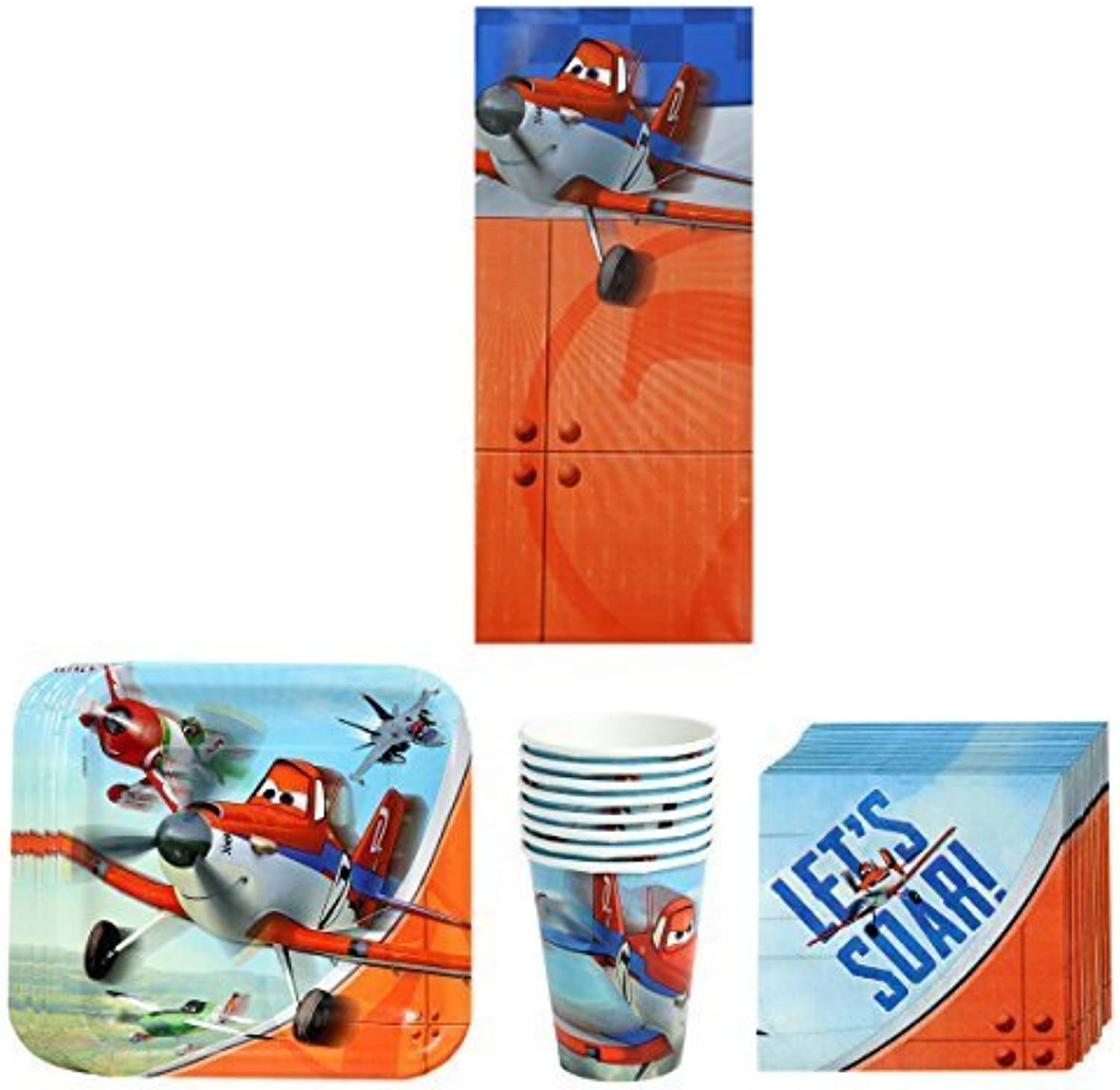 Disney Planes Dusty and Friends Birthday Party Supplies Pack Bundle Kit Including Plates, Cups, Napkins and Tablecover  8 Guests by Disney