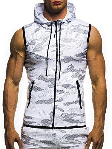 Leif Nelson Gym Herren Fitness Weste Trainingsweste Camouflage 04-70061; Größe S, Weiss