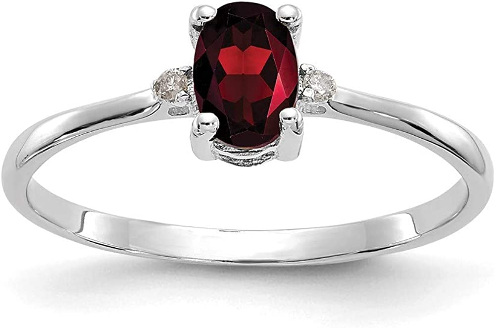 10k White Gold Diamond Red Garnet Birthstone Band Ring Size 6.00 Stone January Oval Fine Jewelry For Women Gifts For Her