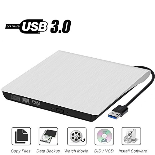 External CD Drive, Sibon USB 3.0 CD/DVD-RW Drive, Slim High Speed CD Player Burner for MacBook Air Pro/Air/iMac and Laptop Desktops Support Windows/Vista/7/8.1/10, Mac OSX (White)