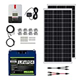 ExpertPower Kit de energía solar de 200 W 12 V | Batería de litio LiFePO4 de 12 V y 20 Ah | Paneles solares rígidos mono de 200 W, controlador de carga solar MPPT de 20 A, RV, remolque, camper, marina, fuera de la red, proyectos solares