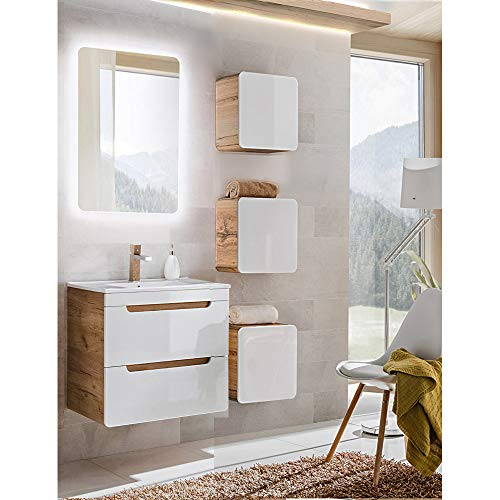 Lomadox Badezimmermöbel Set Hochglanz weiß mit Wotaneiche, Waschtisch mit 60cm Unterschrank & LED-Spiegel, 3 Hängeschränke