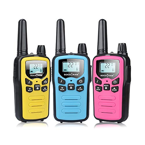 SOCOTRAN Kids Walkie Talkies 3 Pack Boys Girls Two-Way Radios Long Range 5 Miles with USB Charging Cable Blue Yellow Pink Walkie Talkies for Kids Children Toys Gifts