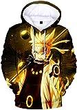 OLIPHEE Naruto 3D Fanáticos Impresión Anime Sudadera con Capucha Deportivo Sasuke Uzumaki Japones Niños Chicos Popular Uzumaki-XS