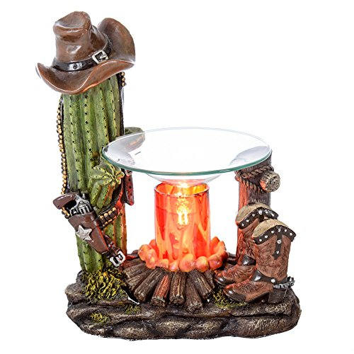 Western Candle Warmer - Cactus & Boots - Cowboy Hat & Gun Polyresin - Fragrance Oil Warmer and Diffuser - Candle Tart Melter - Illuminating Night Light - Eye Catching Stand