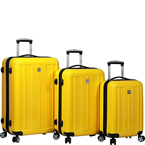 Dejuno Contour 3-Piece Hardside Spinner Luggage Set with TSA Lock, Yellow, One Size