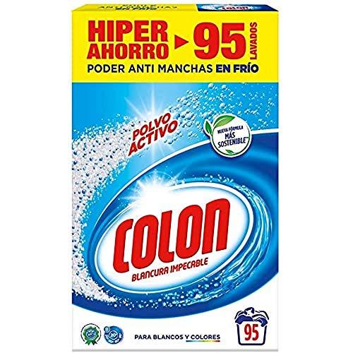 Colon Polvo Activo - Detergente para lavadora, adecuado para ropa blanca y de color, formato polvo - 95 dosis, 5.890 kg