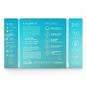 Cali White Vegan Teeth WHITENING KIT with LED Light, Made in USA, Natural & Organic Peroxide Gel, Professional Dental Whitener, Best Home HISMILE System: 2 X 5mL Syringes, Custom Trays, Retainer Case