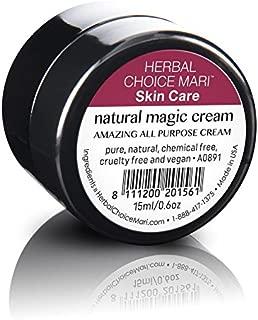 Natural Magic (Healing & Repair) Cream by Herbal Choice Mari; 0.5 Fl Oz Glass Jar; Wrinkles, Dry Patches, Flakiness, Minor Sunburns, Minor Rashes, Bug Bites, and More!