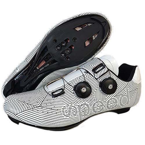 JINFAN Calzado de Ciclismo MTB para Hombre,Zapatos de Ciclismo de Carretera con Candados,Calzado Deportivo de Invierno para Hombre y Mujer,White-3.5UK=(230mm)=36EU