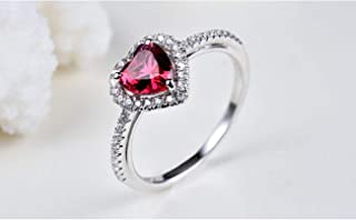 lem Abrillantador de anillosAnillo de Plata de Ley 925 con Forma de corazón Anillo de Boda de eternidad para Mujer