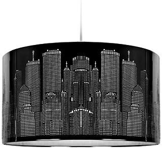 MiniSun - Moderna pantalla de lámpara de tamaño amplio, inspirada en el paisaje de Nueva York – de color negro brillante