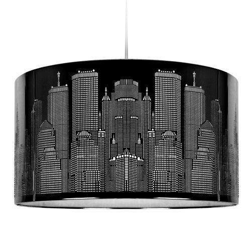 MiniSun – Moderner Trommel Lampenschirm mit tollem New Yorker Skyline-Motiv und glänzendem schwarzem Finish – für Hänge- und Pendelleuchte