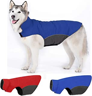 Leepets Waterproof Dog Jacket Fleece Lined Dog Coat for Winter Warm Reflective Adjustable Cold Weather Snow Rain Vest Apparel Clothes for Dog (Fit 30-100 lbs Dogs)