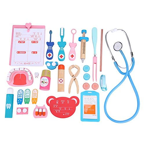 FTVOGUE Arztköfferchen, Doktor Arztkittel Rollenspiel Kinder aus Holz Arzt Spiel Spielzeug Arzt Kit medizinische Rollenspiele Sets mit Mithelfern