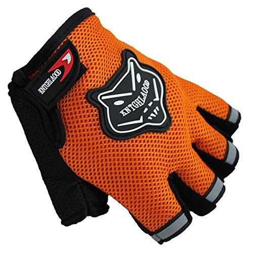 guanti per bici Wildlead Guanti per Bambini Guanti per Bici Mezze Dita Traspiranti Antiscivolo per Lo Sport in Bicicletta … (Orange)