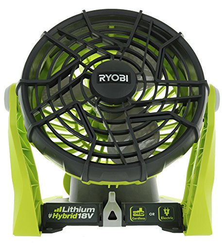 Ryobi P3320 18 Volt Hybrid One+ Battery or AC Powered Adjustable Indoor / Outdoor Shop Fan (Battery...