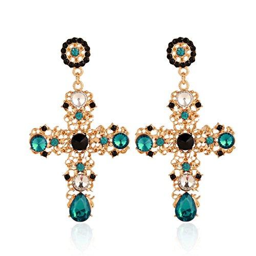 Elegantes pendientes de cruz bohemios para mujer con estrás, pendientes de gota con estrás, para uso diario
