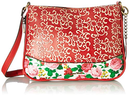 Laura Vita 4237, Bolso, Clutch, Flores para Mujer, Rojo, Medium