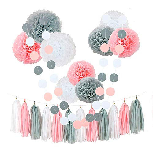 Monkey Home Tissue Pom Poms Paper Flowers,9 pcs of 8, 10, 12 Inch,Tissue Paper Tassel Paper Decorations for First Birthday - Baby Shower - Wedding - Table and Wall Decorations(Pink,White,Grey)