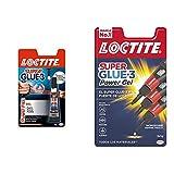 Loctite Super Glue-3 Power Flex, gel adhesivo flexible y resistente, pegamento instantáneo para superficies verticales + Super Glue-3 Power Flex Mini Trio, gel adhesivo flexible y resistente