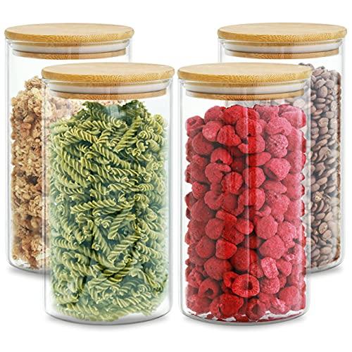 Bocaux en Verre Hermetiques avec Couvercle en Bambou - Réutilisable - 8 Joints - 1,2 L - Lavable au Lave-vaisselle