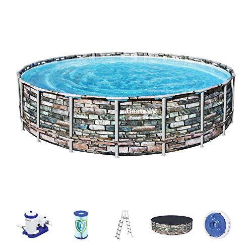 Bestway Power Steel Framepool Komplett-Set, rund, mit Filterpumpe, Sicherheitsleiter & Abdeckplane 610 x 132 cm Pool, Multicolor
