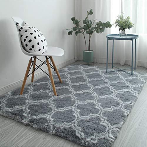 XQKXHZ Home Designer tapijt, eenvoudige pluizige zachte lange geometrische gecontroleerd anti-slip gebied tapijt voor slaapkamer woonkamer balkon studie open haard Bay raam, grijs